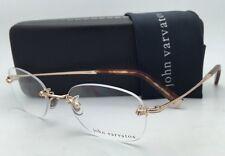 New JOHN VARVATOS Eyeglasses V110-OV 50-21 140 Gold Rimless Frame w/Clear Lenses