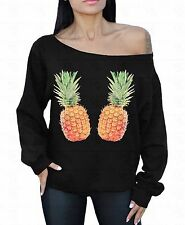 Pineapples Off The Shoulder Oversized Slouchy Sweater Sweatshirt