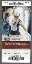 2012 NFL SAN FRANCISCO 49ERS @ NEW ENGLAND PATRIOTS FULL UNUSED FOOTBALL TICKET