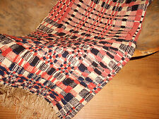 Antique 19th Early Loom Woven Coverlet Blanket Pc. ~Indigo Deep Salmon Red Cream