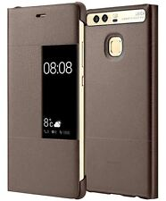 NEW GENUINE  HUAWEI P9 SMART VIEW FLIP LEATHER CASE COVER SLEEP WAKE - BROWN