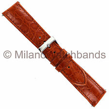 22mm Crocodile Embossed Honey Genuine Leather Padded Stitched Mens Watch Band