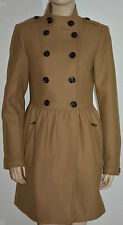 NWT BURBERRY BRIT $1195 WOMENS WOOL CASHMERE TWILL DRESS COAT JACKET US 2 EU 36