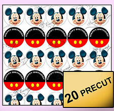 20 precortada Mickey Mouse Comestibles Oblea Arroz Papel Cup Cake Topper Cumpleaños personal