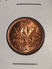 1947 CANADA 1 CENT SMALL CENT PENNY MINT STATE RED BU FROM ORIGINAL BANK ROLL