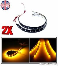 2X NEW 30 CM 12 SMD 3528 LED FLEXIBLE STRIP ORANGE LIGHT CAR LAMP WATERPROOF 12V