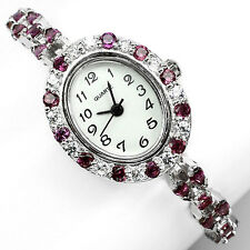 Sterling  Silver 925 Stunning Rhodolite Garnet and Cubic Zirconia Watch 7 Inches