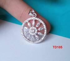 Superb Clear Topaz CZ 925 Silver Flower Necklace Pendant