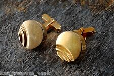 Vintage Cufflink Pair Gold Plated Metal Signed Swank Curved Ridge Mens Jewelry