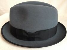BROOKLYN FUR BY CHRISTYS' LONDON HATS GRAY FEDORA BOXED S SMALL/MEDIUM 56CM