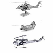 Set of 3 Metal Earth Helicopter Model Kits AH-64 Apache CH-47 Chinook UH-1 Huey