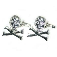 Skull & Crossbone Heavy Metal Biker Hells ROCK Angel Cufflinks Present Gift Box