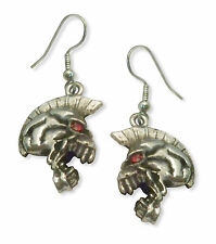 Mohawk Skull Earrings with Red Crystal Eyes Silver Finish #958
