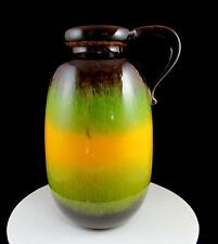 """SCHEURICH KERAMIK #484-27 GREEN YELLOW BROWN HANDLED 10 3/8"""" PITCHER VASE 1960's"""