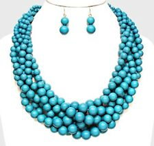 Acrylic Blue Chunky Pearl Multi Layered Strand Bead Necklace And Earring Set