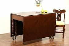 Empire 1825 Antique Cherry Gateleg Dropleaf Dining or Sofa Table, Spiral Legs