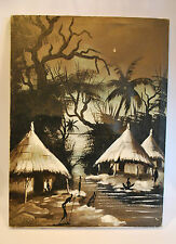 Original Vintage 1950's African MASAI Painting on Cloth - Signed by Artist