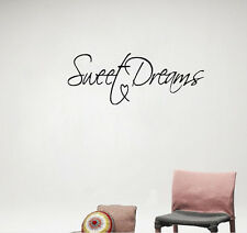 Modern Wall Sticker Sweet Dreams Vinyl Art Mural Wall Quote Saying decals black