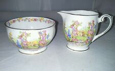 Bell Rose Cottage Fine Bone China Footed Mini Sugar Bowl Creamer England Vintag