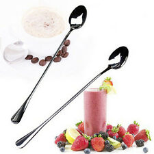 2PCS Long Handle Stainless Steel Tea Coffee Spoons Ice Cream Cutlery New & Hot