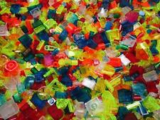 100 SMALL TRANSLUCENT LEGO PIECES LOT 1x1 1x2 2x2 tiny space dots cones dishes