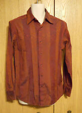 J. Ferrar Cool Burnt Orange Dark Maroon Rockabilly Casual Dress Shirt Men's L 16