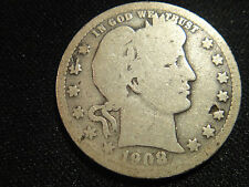 1908 O #2 CIRCULATED BARBER SILVER  QUARTER