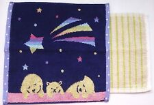 LOT de 2 SERVIETTE main hand towel ENFANT 25 x 25cm NEUF chien ours etoile star