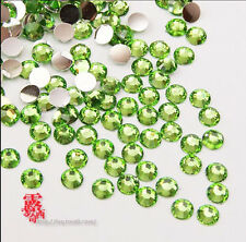 DIY 800pcs 4mm Facets Resin Rhinestone Gems Flat Back Crystal beads Green  []A1