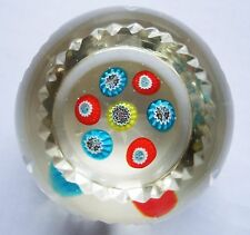 Antique Crystal Art Glass Paperweight Concntric Millefiori Cane Multifaceted&Cut