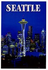 Seattle Washington Postcard Space Needle Night Lights Skyline City New