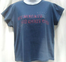 SIZE 20 T-SHIRT BLUE WITH ITS ALWAYS THE QUIET ONES LOGO COTTON BY PAPAYA JERSEY