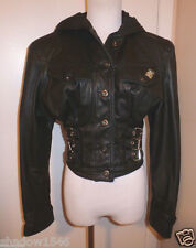 PARASUCO Black Leather Biker MOTORCYCLE Short Jacket Coat Size Small Petite