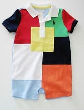 Ralph Lauren Baby Boys Cotton Patchwork Shortall Red Flag Multi Sz 18M - NWT