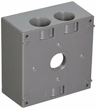 Hubbell Bell 5343-0 Two Gang 4-3/4-Inch Outlets Weatherproof Box, Gray, New, Fre