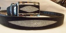 GENUINE STING RAY LEATHER SKIN  3 WHITE PEARL BLACK BELT NEW  ADJUSTABLE BUCKLE