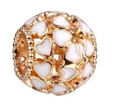 GOLD PLATED OPENWORK ENAMEL HEART CHARM BEAD FOR BRACELET, NECKLACE