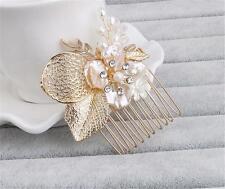 Diamante Hair Comb Floral Wedding Headpiece Pearls Bridal Accessories 1 Piece