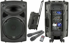 QTX QR12PA Portable PA System Battery Powered USB Sound + 2 x Wireless Handheld