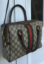 VINTAGE Authentic GUCCI Signature Coated Canvas + Striped Webbing BAG PURSE euc!