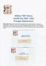 Bill Merry Cardiff City 1930-32 & Billy Budd Muy Raro Original Firmado esquejes
