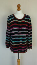 FAB CC Black Red Pink Blue Striped Cardigan Plus Size XL UK 18 VGC 3/4 Sleeves