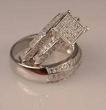 Men And Ladies White Gold Finish Trio Set Wedding  Engagement Rings L 8 M 11