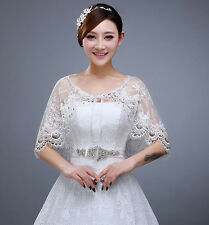 Ivory Soft Lace tulle Crystal Bridal Cloak Jacket Wrap Bolero Coat wedding Shawl