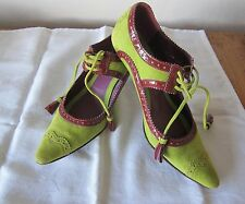 ETRO GREEN SUEDE AND BURGUNDY PATENT LEATHER, TASSEL OXFORD STYLE PUMPS - SZ 6.5