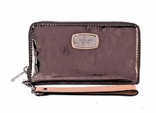Michael Kors LG Phone Case Wallet Wristlet Clutch NWT $98 Nickel Dk Silver Logo