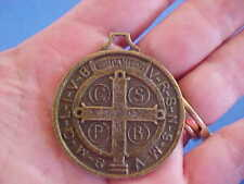 Large Antiqued Brass St BENEDICT Medal Protection Exorcism's Saint Medal A1