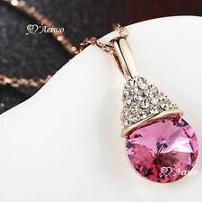 18K ROSE GOLD GF SWAROVSKI CRYSTAL FASHION PENDANT NECKLACE