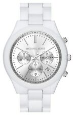 Michael Kors MK6254 Runway Chronograph Silver Dial White Watch - 2 Yrs Warranty