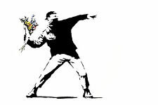 Banksy Flower Bomber Canvas Print A4 Size (297 x 210mm)